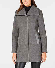 I.N.C. Textured Faux-Leather-Trim Coat, Created for Macy's