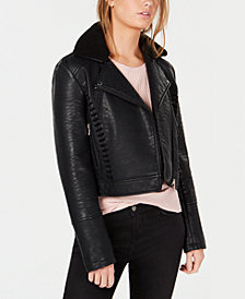 Coffeeshop Juniors' Side-Stitch Asymmetrical Moto Jacket