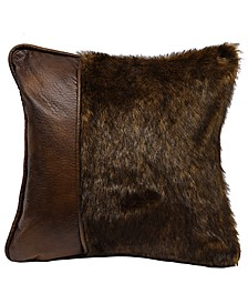 """18""""x18"""" Fur Pillow with Faux Leather"""