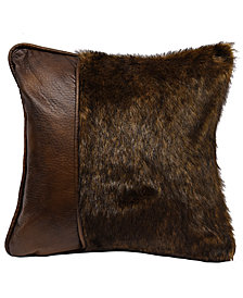"18""x18"" Fur Pillow with Faux Leather"