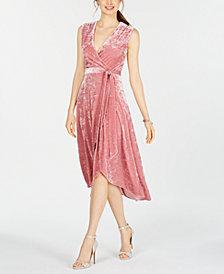 Avec Les Filles Sleeveless Velvet Wrap Dress