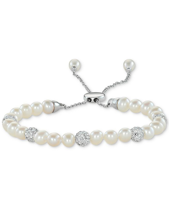 Macy's - Cultured Freshwater Pearl (6-1/2mm) & Crystals Bolo Bracelet in Sterling Silver