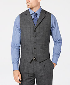 Tallia Men's Slim-Fit Charcoal Plaid Wool Suit Vest