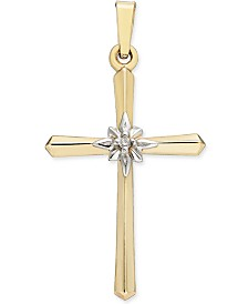 Diamond Accent Cross Pendant in 14k Gold