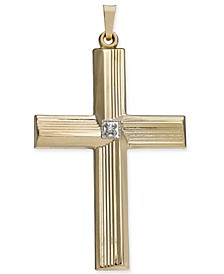Diamond Accent Textured Cross Pendant