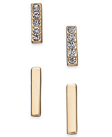 Alfani Gold-Tone 2-Pc. Set Pavé Bar Stud Earrings, Created for Macy's