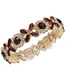 Charter Club Gold-Tone Crystal & Stone Stretch Bracelet, Created for Macy's