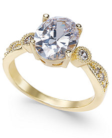 Charter Club Gold-Tone Crystal Oval Ring, Created for Macy's