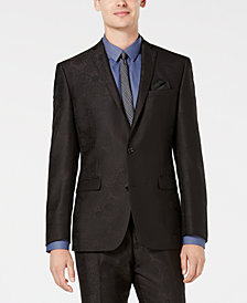 Bar III Men's Slim-Fit Black Jacquard Suit Jacket, Created for Macy's