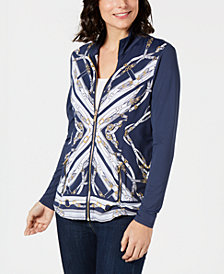 Charter Club Petite Printed Mock-Neck Jacket, Created for Macy's