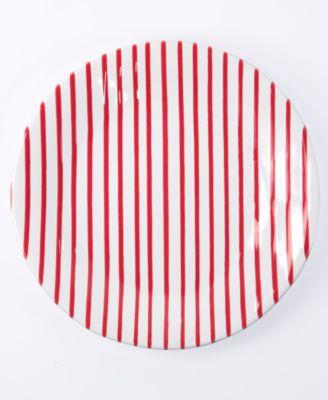 Net & Stripe Red Stripe Dinner Plate
