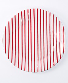 Net & Stripe Red Stripe Dinner Plate