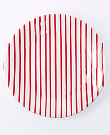 Vietri Net & Stripe Red Stripe Dinner Plate