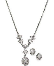 "Charter Club Silver-Tone Crystal Lariat Necklace & Stud Earrings Set, 17"" + 2"" extender, Created for Macy's"