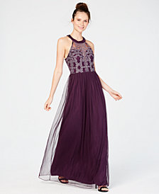 Speechless Juniors' Glitter Illusion Halter Gown