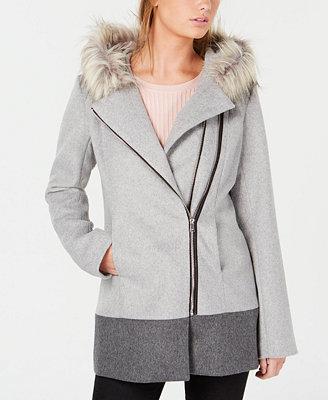 Junior's Faux Fur Trim Hooded Asymmetrical Coat by Coffee Shop