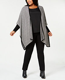 Alfani Plus Size Patterned Poncho Cardigan, Created for Macy's