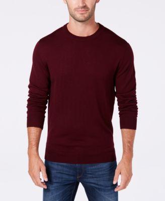 Men's Solid Crew Neck Merino Wool Blend Sweater, Created for Macy's