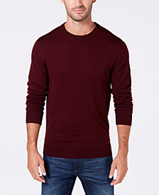 Club Room Men's Textured Merino Wool Crew Neck Sweater, Created for Macy's