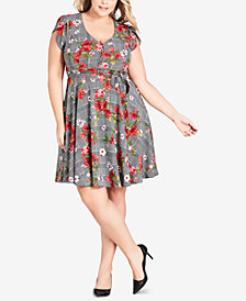 City Chic Trendy Plus Size Sloane Printed Dress
