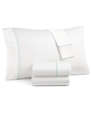 Whim by Martha Stewart Collection Solid Pom 4Pc Full Sheet Set Created for Macys Bedding
