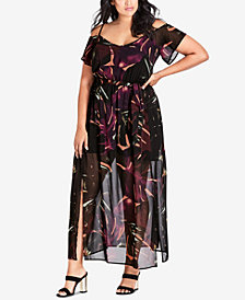 City Chic Trendy Plus Size Wild Jungle Cold-Shoulder Maxi Dress