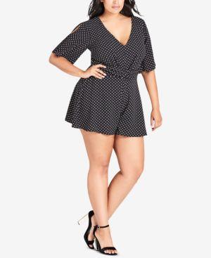 Trendy Plus Size Polka-Dot Cutout Romper, Fun Spot