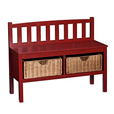 Entryway Bench w/ Rattan Baskets, Quick Ship