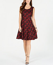 Nine West Sequined Lace Fit & Flare Dress, Created for Macy's
