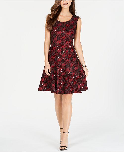 c9bea9b1110b ... Nine West Sequined Lace Fit   Flare Dress