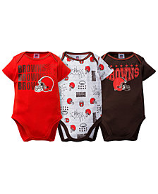 Gerber Childrenswear Cleveland Browns 3 Pack Creeper Set, Infants (0-9 Months)