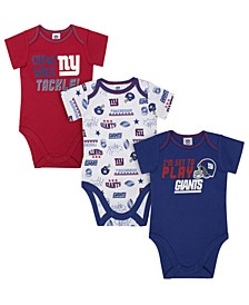 New York Giants 3 Pack Creeper Set, Infants (0-9 Months)