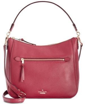 Jackson Street - Quincy Leather Hobo - Red in Fig Jam/Gold