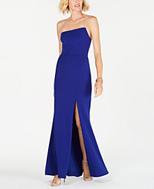 Betsy & Adam Strapless Ruffle-Back Gown