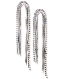 GUESS Silver-Tone Crystal Multi-Chain Drop Earrings