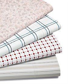 CLOSEOUT! Martha Stewart Essentials Printed 220 Thread Count Sheet Sets, Created for Macy's