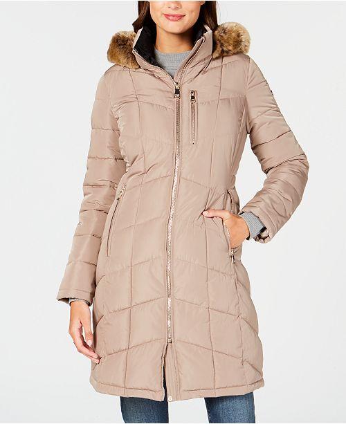 54bf4925f Calvin Klein Faux-Fur-Trim Hooded Puffer Coat & Reviews - Coats ...