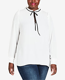 City Chic Trendy Plus Size Ruffle-Collar Top