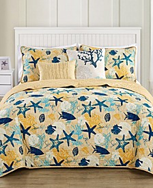 Aquatic Reversible 5-Pc. Queen Quilt Set