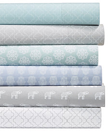 Grace Home Fashions Laundry Cotton 200 Thread Count 4-Pc. Printed Sheet Set Collection