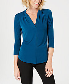 Charter Club Petite Pleat-Neck 3/4-Sleeve Top, Created for Macy's