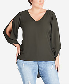 City Chic Trendy Plus Size Split-Sleeve High-Low Tunic