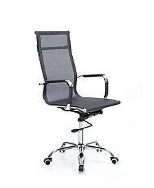 Mesh, High-Back, Adjustable Height, Swiveling Executive Chair with Chrome Base and Arms