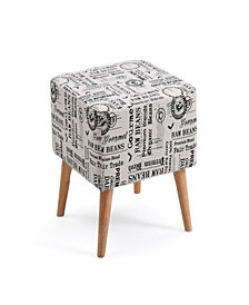 Accent Ottoman Upholstered in a Newspaper Print Design