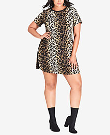 City Chic Trendy Plus Size Animal-Print Tunic Dress