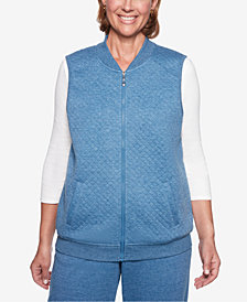 Alfred Dunner Petite At Ease Quilted Zip-Up Vest
