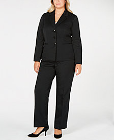 Le Suit Plus Size Three-Button Striped Pantsuit