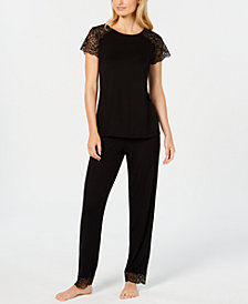 I.N.C. Sheer Lace-Sleeve Pajama Set, Created for Macy's