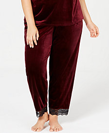 I.N.C. Plus Size Lace-Trim Velvet Pajama Pants, Created for Macy's