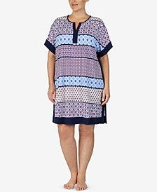 Ellen Tracy Plus Size Mixed-Print Short Nightgown